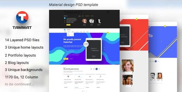 Tammat — Material Design PSD Template - Business Corporate
