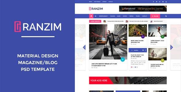 Ranzim - Material Design Blog PSD Template - Entertainment Photoshop