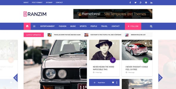 Ranzim - Material Design Blog PSD Template