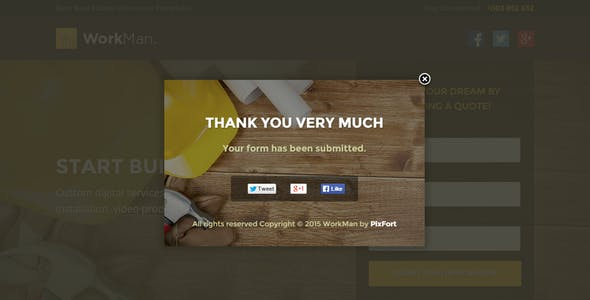 WorkMan - Real Estate and Construction Unbounce Landing Page Template