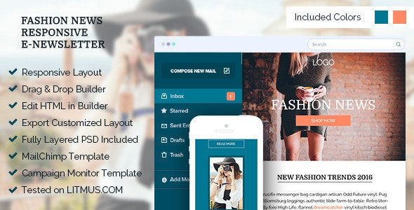 Fashion News - Responsive Email Template + Online Editor - Email Templates Marketing