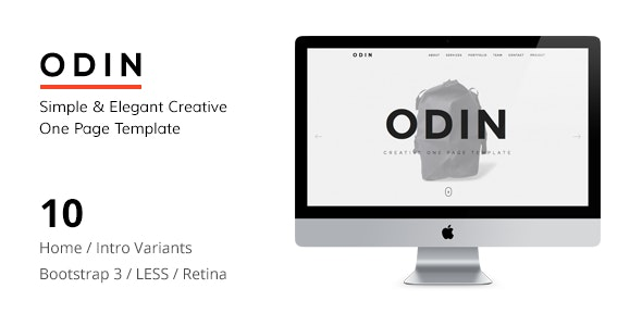 ODIN - Simple & Easy Creative One Page Template - Portfolio Creative