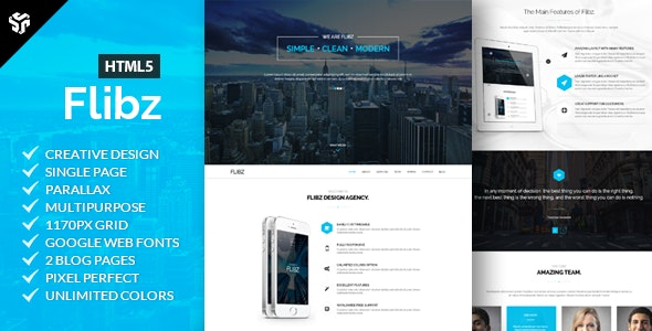 Flibz - One Page Parallax HTML5 Template - Creative Site Templates