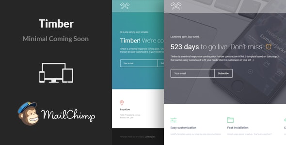 Timber - Responsive Coming Soon Template - Under Construction Specialty Pages