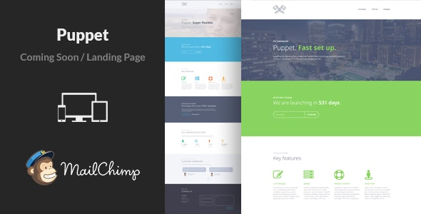 Puppet - Business Responsive Coming Soon Template - Under Construction Specialty Pages
