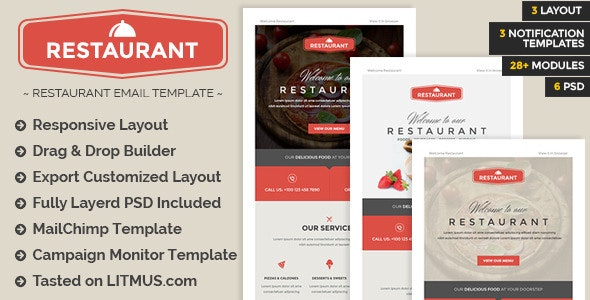Restaurant - Responsive Email + Builder Access - Email Templates Marketing