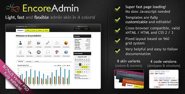 EncoreAdmin - Light, Fast & Flexible Admin Skin - Admin Templates Site Templates