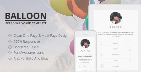 Balloon - Personal vCard WordPress Theme - Personal Blog / Magazine