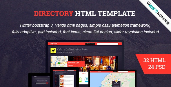 HTML Directory Geolocation, Social Network  - Miscellaneous Site Templates