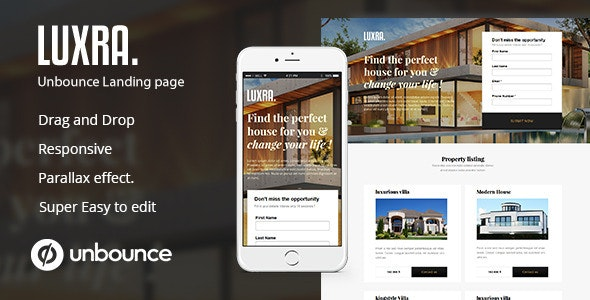 luxra Unbounce Real Estate landing Page  - Unbounce Landing Pages Marketing