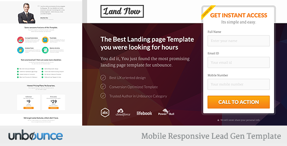 Unbounce Responsive Landing Page Template - LandNow - Unbounce Landing Pages Marketing