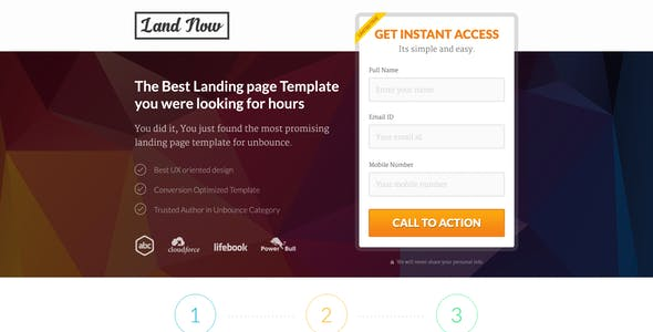 Unbounce Responsive Landing Page Template - LandNow
