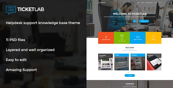 TicketLab - Helpdesk, Support, and Knowledge Base PSD Template - Software Technology