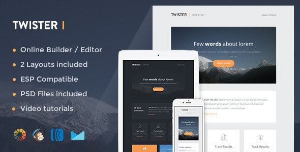 Twister - Modern Email Template + Online Editor - Newsletters Email Templates