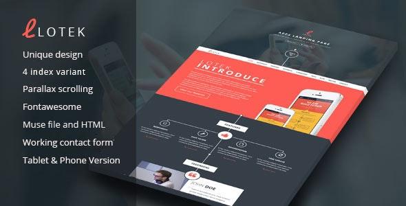 Lotek - Modern App Landing Page Muse Template - Landing Muse Templates