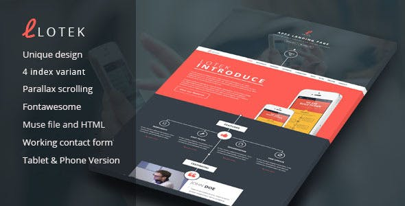 Lotek - Modern App Landing Page Muse Template