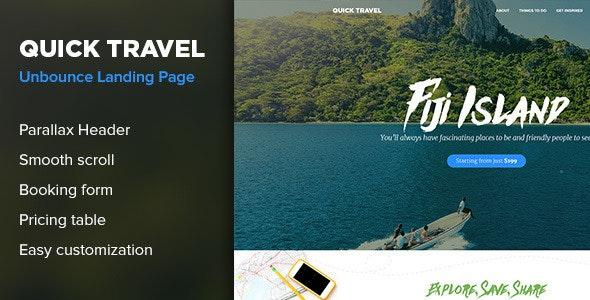 QuickTravel - Responsive Unbounce Landing Page - Unbounce Landing Pages Marketing