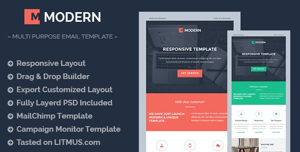 MODERN Responsive Email Template + Builder Access - Email Templates Marketing