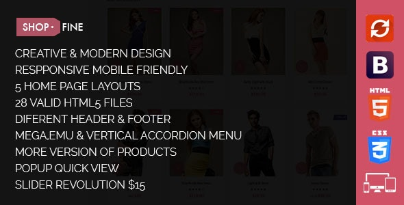 Shopfine - Responsive E-Commerce Template - Fashion Retail