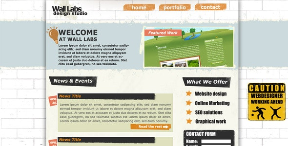 Wall Labs Grunge Style Design template - Creative PSD Templates