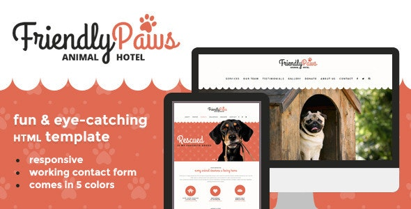 Paws - Friendly Animal Hotel HTML Template - Travel Retail