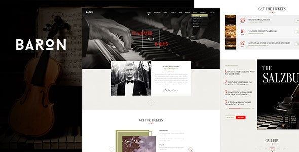 Baron - Music PSD Template - Entertainment Photoshop