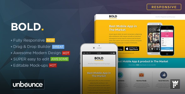 BOLD - Unbounce App Landing Page Template - Unbounce Landing Pages Marketing