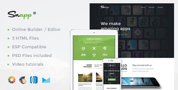 Snap - Modern Email Template + Online Editor - Newsletters Email Templates