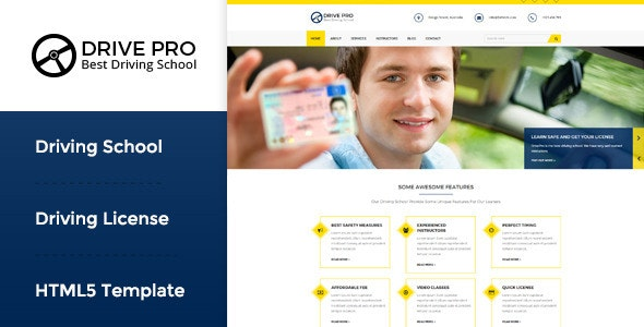 Drive Pro : Driving School HTML Template by WPmines