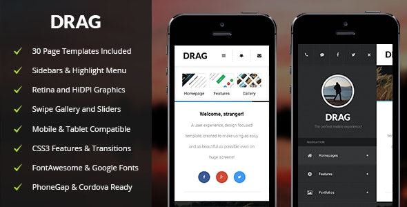 Drag Mobile - Mobile Site Templates