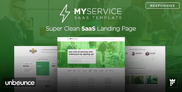 MYSERVICE - SaaS Product Unbounce Landing Page Template - Unbounce Landing Pages Marketing