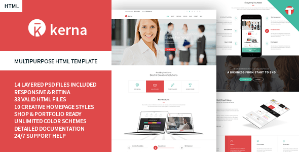 Kerna - Responsive Multi-Purpose HTML Template