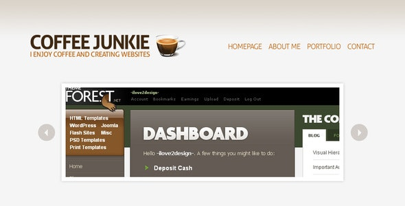Coffee Junkie XHMTL/CSS Version - Creative Site Templates