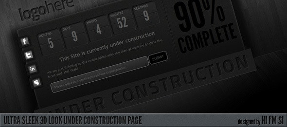 Ultra Sleek 3D Look Under Construction Page - Under Construction Specialty Pages