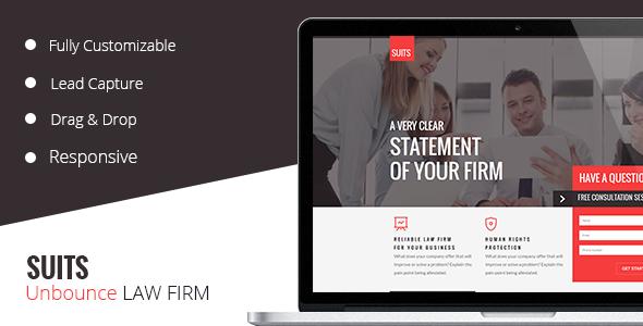 SUITS -  Unbounce  Law Template - Unbounce Landing Pages Marketing