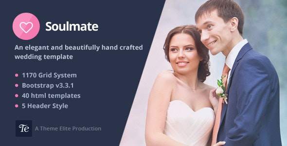 Soulmate - Responsive Bootstrap 3 Wedding Template - Wedding Site Templates