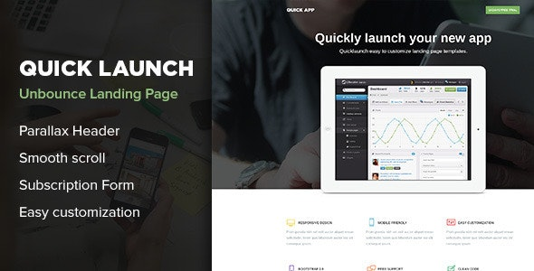 QuickLaunch - Responsive Unbounce Landing Page - Unbounce Landing Pages Marketing