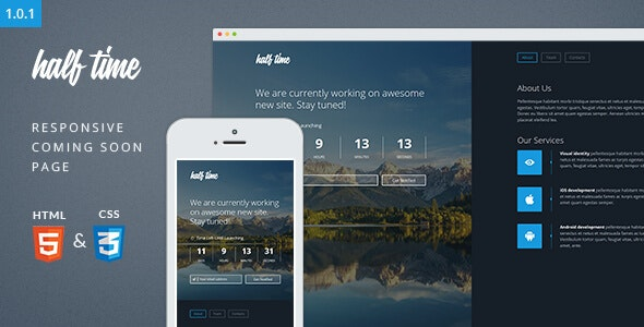 HalfTime - Responsive Coming Soon Template - Under Construction Specialty Pages