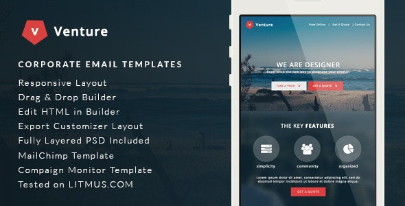 Venture - Corporate E-Newsletter + Builder Access - Email Templates Marketing