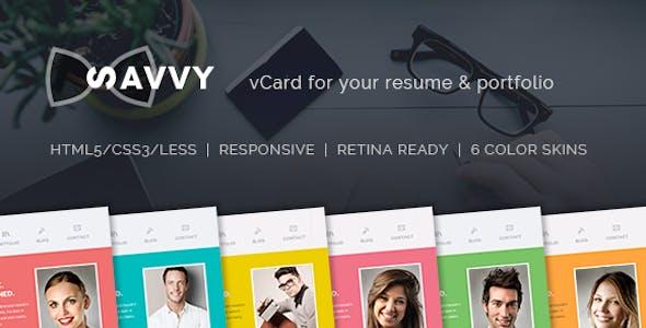 Savvy - Personal vCard Resume & Portfolio Template