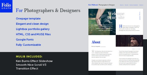 Foliograph for Photographers & Designers Muse Theme - Personal Muse Templates