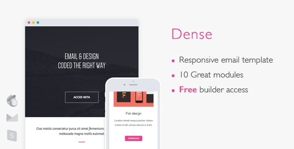 Dense - Responsive Email + Builder Access - Newsletters Email Templates