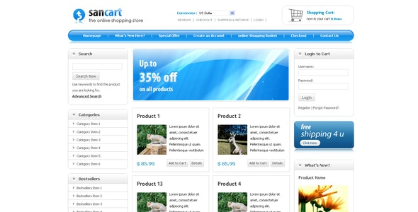 SANCART HTML SHOPPING CART TEMPLATE - Shopping Retail