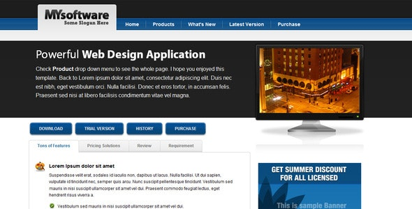 Clean Blue & Black Mac Style Software Template - Software Technology