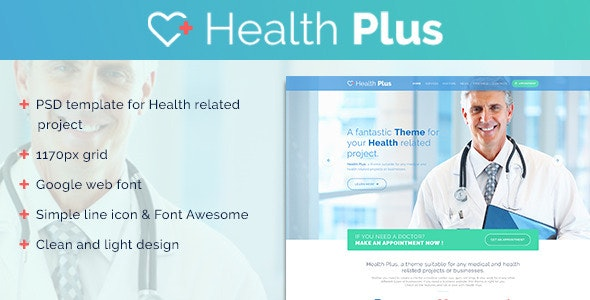 Health Plus – Clinic PSD Template - Health & Beauty Retail