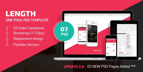 Length | One Page PSD Template - Creative Photoshop