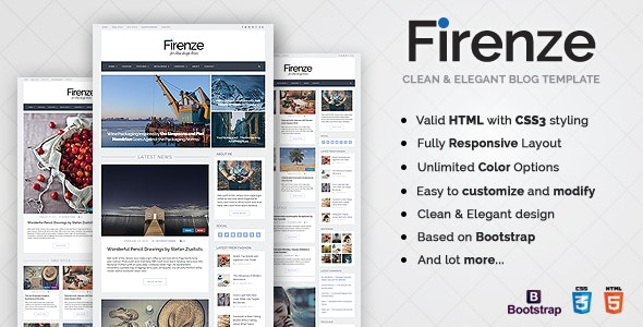 Firenze - Responsive Blog HTML5 Template - Personal Site Templates