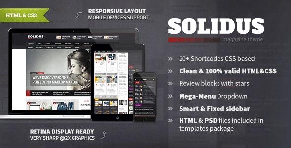 Solidus - Clean Magazine HTML Template - Entertainment Site Templates