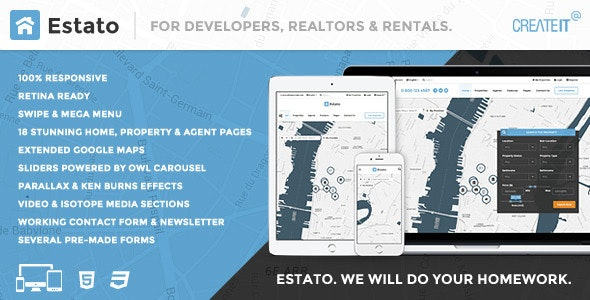 ESTATO  Responsive Featured Real Estate HTML theme by