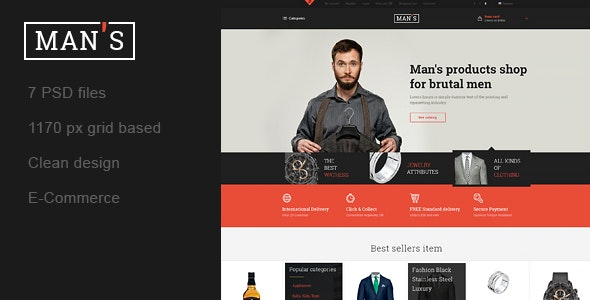 MAN'S - Template Online-Store for Man - Shopping Retail